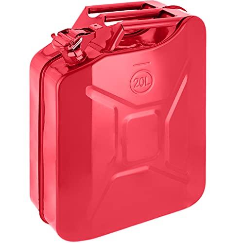 PrimeMatik - Bidón metálico para Gasolina o diésel 20 L Rojo