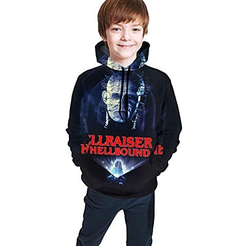 Hellraiser - Sudadera deportiva con capucha y bolsillo para adolescentes y niñas, Negro, 10-12 años