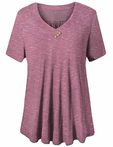 FOLUNSI Women's Plus Size Short Sleeves Flare Tunic Tops for Leggings Flowy Shirt Carbon Pink 2XL