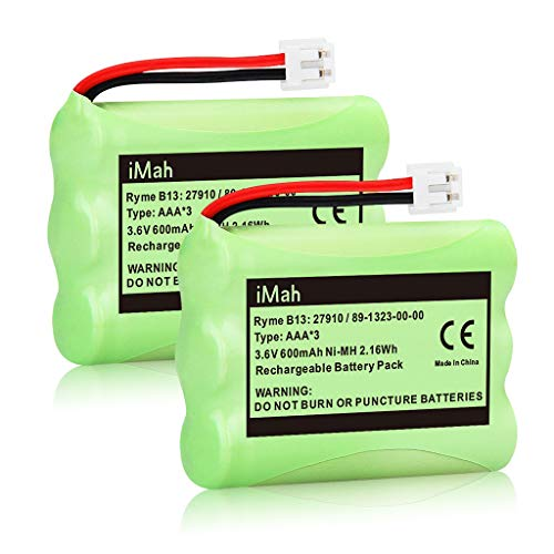 iMah 27910 Cordless Phone Battery Pack Compatible with AT&T 89-1323-00-0 Motorola SD-7501 Vtech 27910 I6725 RadioShack 23-959 Home Handset 3.6V Ni-MH, Pack of 2 Photo #3