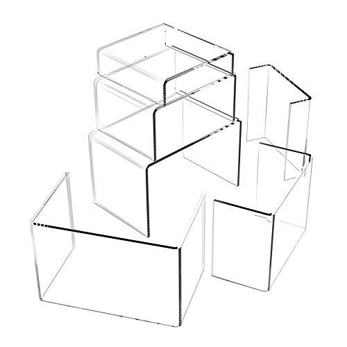 Acryl Display Ständer, Schmuck Display Riserin 3 Verschiedene Größe Transparente Acrylständer Riser Regal, für Figuren, Schmuck, Cupcake, Lippenstift, Nagellack, Gewürz(6 Stück)