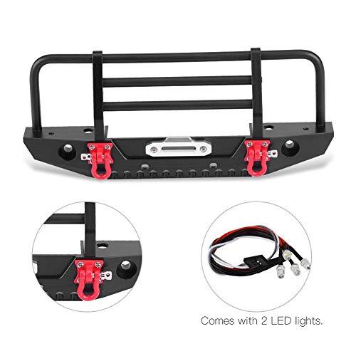 Dilwe RC Auto Frontstoßstange, Crashproof Metal Frontstoßstange mit LED-Leuchten für 1/10 Fernbedienung Climbing Crawler Car