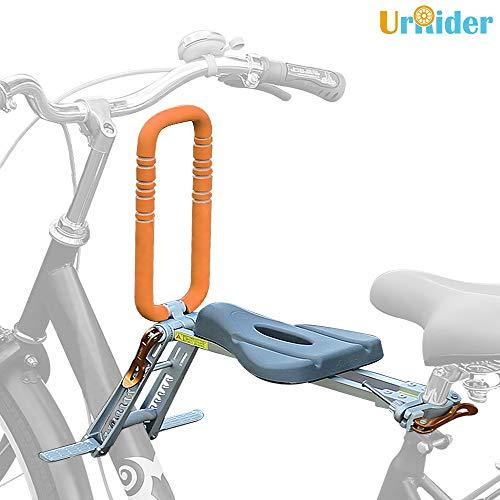 UrRider Sedile Bici per Bambini, Sedile Bici Anteriore per Bambino, portabici Pieghevole e Ultraleggero per Bambini con corrimano per Bici da Crociera, Bici da Ford, Bici da Città condivise