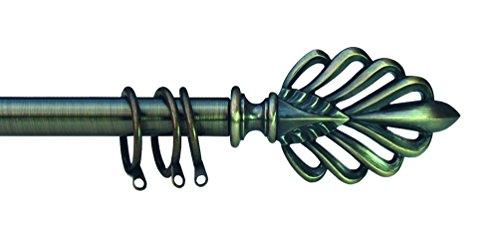 kippen 1304OA Bastone per Tenda Estensibile da 120-200 cm. Modello Foglia Ottone Antichizzato
