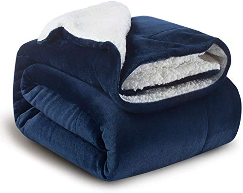 Delgeo Manta (Azul Marino) de Lana de Cordero,Manta de 100% Microfibra de Franela-Adecuado para Cama, Sofá,Estar,Viaje 150x200cm