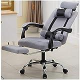 Silla de oficina con función giratoria, respaldo y reposacabezas ajustable y cojín lumbar, silla de oficina, silla de ordenador, color gris