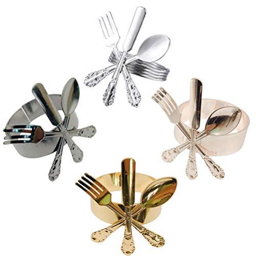 ifundom 4 Piezas de Anillos de Servilleta Decorativos de Metal Hebilla de Servilleta de Aleación de Metal Soportes de Anillo de Servilleta para Fiestas de Mesa