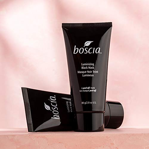 boscia Luminizing Charcoal Mask - Vegan Peel off Face Mask, Cruelty-Free Skincare. Activated Charcoal Blackhead Remover, Vitamin C Pore Cleaner, 80g