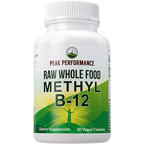 Raw Whole Food Vegan B12 Vitamin. Vitamin B12 Methylcobalamin - Methyl B-12 Supplement Plus 25+ Organic Fruit and Vegetable Ingredients. 30 Day Supply Capsules