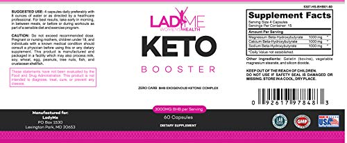 Keto Weight Management Pills for Women- BHB Exogenous Ketones for Energy Boost & Weight Management for Women- Zero Carb Fat Burner for Women - Made in USA - 60 Capsules by LadyMe 6