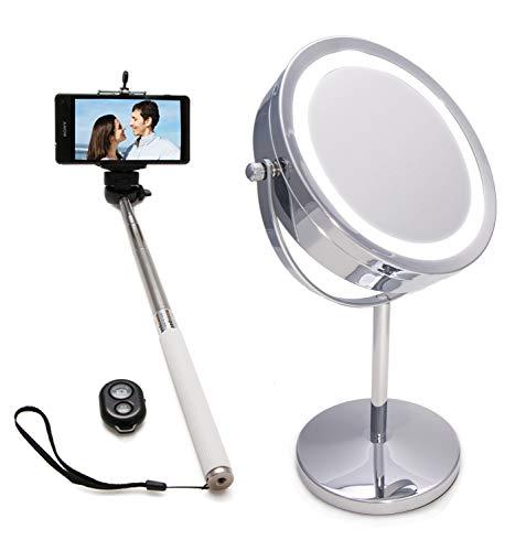 Zerimar Pak 1 Make-Upspiegel + 1 Selfiestick | Lichte Make-Upspiegel Stick Selfie Met Afstandsbediening Vergrotende Spiegel | Uitschuifbare Stick