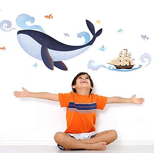 Stickers adhésifs Enfants | Sticker Autocollant Baleine et Bateau Pirate - Décoration Murale Chambre Enfants | 1 Planches de 70 x 50 cm