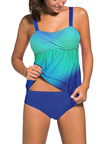 Aleumdr Women's Solid Ruched Tankini Top Swimsuit with Triangle Briefs Color Block X-Large 14 16