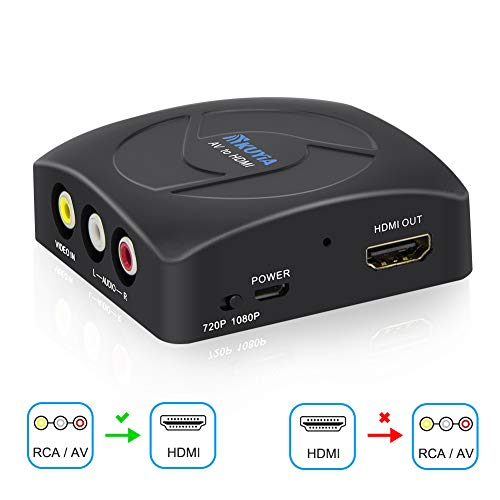 KUYIA AV to HDMI RCA Composite CVBS 1080P Mini 3RCA to HDMI Converter Ondersteuning PAL/NTSC voor PC TV STB Xbox Wii PS4 PS3 VHS VCR DVD Camera Nintendo N64 zwart