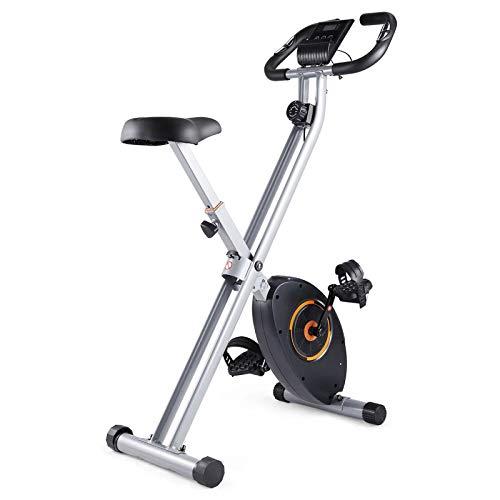 Weiyue Bicicleta estática Plegable, X-Bike Estacionario magnético Bicicleta Interior Resistencia 8 Niveles Bicicleta Ciclismo con medición Pulso Manual y Monitor LCD Soporte iPad-Plata 79x44x117cm