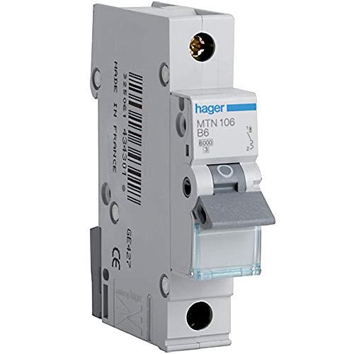 Hager mtn106Miniatur Leitungsschutzschalter, 1Stange, 1Modul, Typ B, 6kA Breaking Kapazität 6A Strom