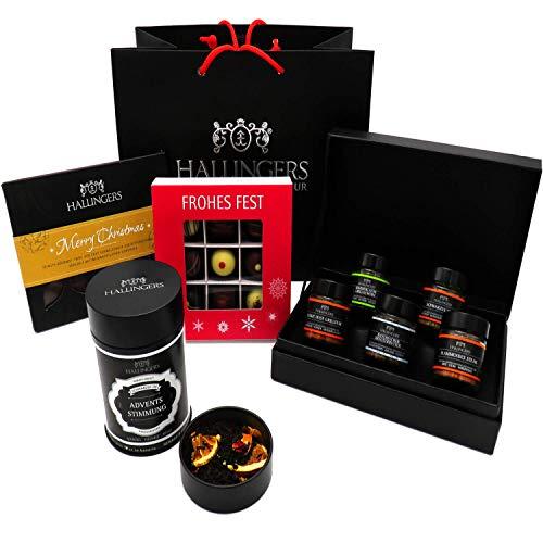 Hallingers Geschenk-Set mit Tafel, Tee, Pralinen & Gewürz (413g) - Best of Christmas (Große Genusstasche) - zu Weihnachten