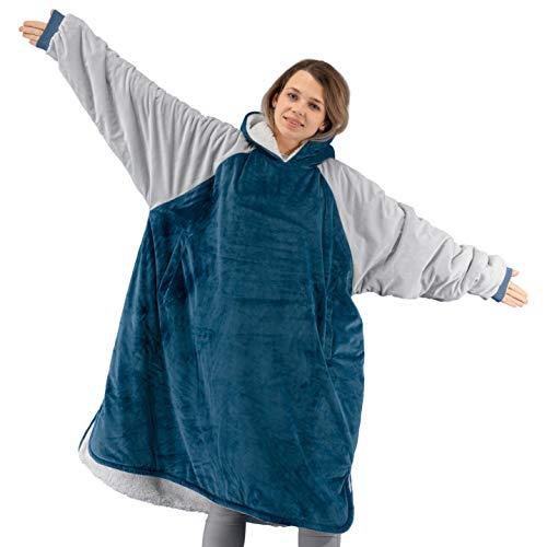Winthome Übergroße Kapuzendecke mit Sherpa-Futter. Weich und warm für Männer Frauen Erwachsene Jugendliche (Blau, M)