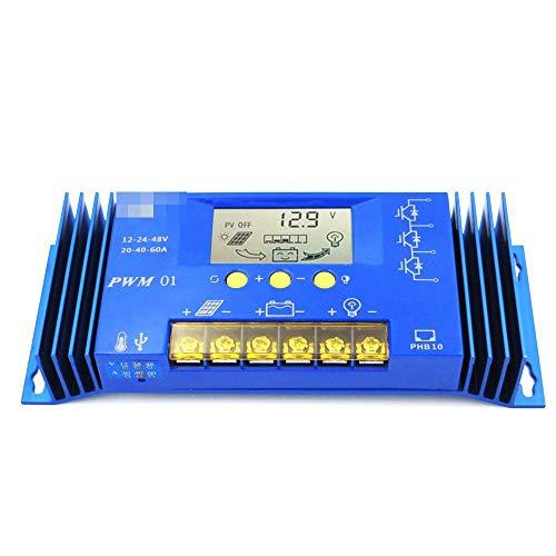 Anzeige 60 40 A LCD 12V / 24V / 48V PWM Solar Panel Laderegler Regulator Auto Lithium-Eisen-Batterie Li Li-ion (Size : 60A 12V 24V 36V 48V)