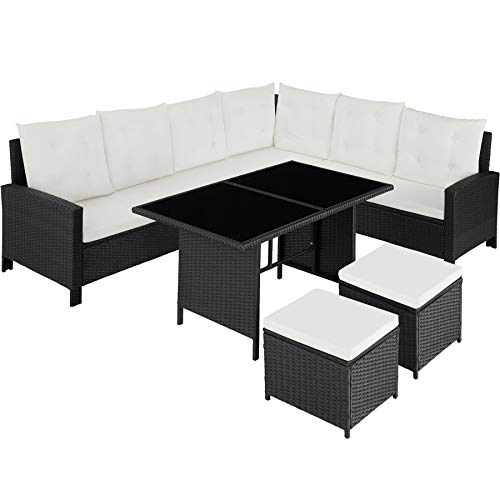 TecTake 800753 Rattan Garden Furniture Set with Corner Sofa, Table and Stool, Outdoor Patio Dining Set, 5 Piece Seating Set, Inc. Seat- and Back Cushions (Black | No. 403335)