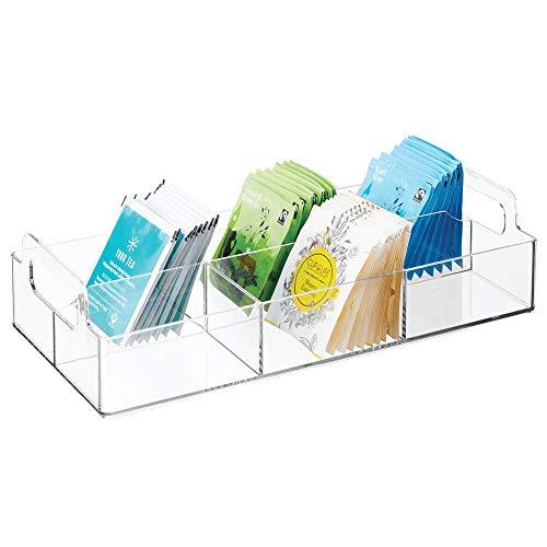 mDesign Organizador de cocina – Practica caja de almacenaje para cocina y despensa – Cesta con asa y 6 compartimentos – Ideal para guardar te, cafe, especias y otros alimentos – transparente