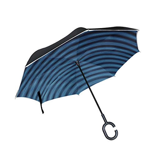 Rain Umbrellas Abstract 3d Blue Lines Blender Large Umbrellas For Rain Double Layer Anti Uv Protection Golf Inverted Umbrella With C-shaped Handle For Car Outdoor
