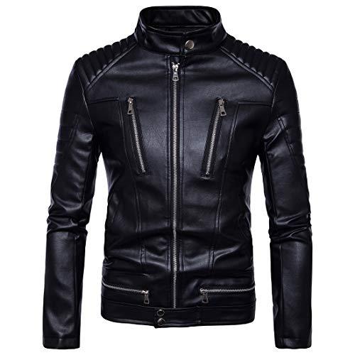 Lässige synthetische Lederjacke für Herren Fashion Ribbed Windbreaker,Black,XL