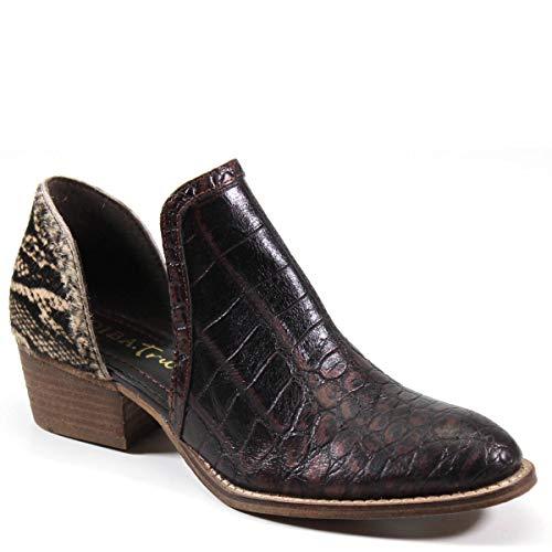 Diba True Women's Shy Town Western Two-Piece Block Heel Bootie (Brown/Beige/Black, 6.5)