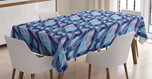 Ambesonne Indigo Tablecloth, Paisley Design with Feathers and Wavy Floral Decor Print, Dining Room Kitchen Rectangular Table Cover, 60 W X 90 L inches, Light Blue Purple Navy Blue and White