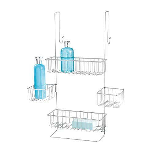 iDesign Metalo Metal Bathroom Over the Door Shower Caddy with Storage Baskets Shelves for Shampoo, Conditioner, Soap, Loofahs, Hand Towels, 10.5' x 8.25' x 22.75', Silver