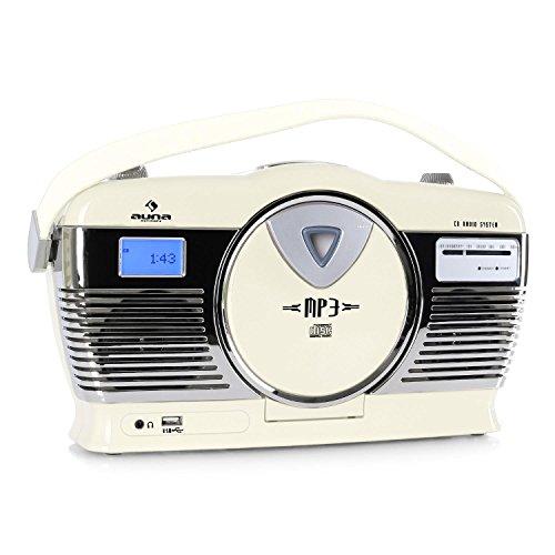 auna RCD-70 Retro CD-Radio Nostalgie Radio (UKW Radio, MP3-fähiger USB-Port, frontlader CD- / MP3-Player, programmierbare Wiedergabe, Zufallswiedergabe, Netz- / Batterie-Betrieb, Tragegriff) Creme