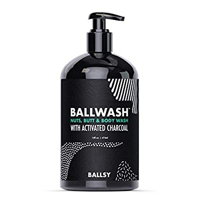 Ball Wash Charcoal Body Wash for Men – Ballsy XL Pump, Shower Gel Ball Wash for Men - 16oz Moisturizing Men's Bodywash with Coconut Oil – Natural Soap for Men & Great for a Manly Care Package