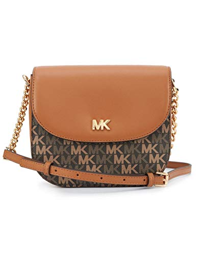 """Dimensions: 8"""" W x 6.5"""" H x 2"""" D Colors: Brown/Acorn with MK monogram print, 100% Leather, Adjustable crossbody strap, Magnetic snap closure One interior slip pocket, three interior credit card slots Imported"""