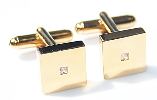 Ah! Jewellery Men's Stylish Gold Filled 18K Square Cufflinks UK Guarantee: 3µ / 10 Years. Stunning Princess Cut LAB…