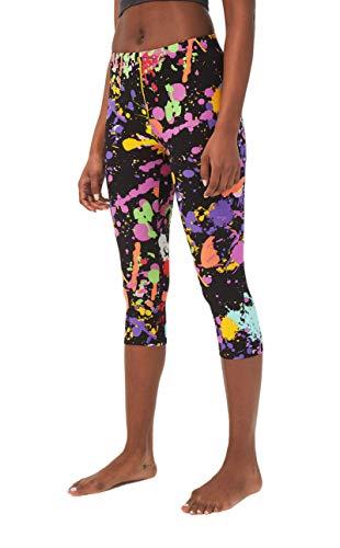 sissycos Capri Leggins Damen Bunt Print 80er Leggings Mädchen Tie Dye Artistic Splash Cropped Buttery Soft Tights(L-XXL,tie dye schwarz)