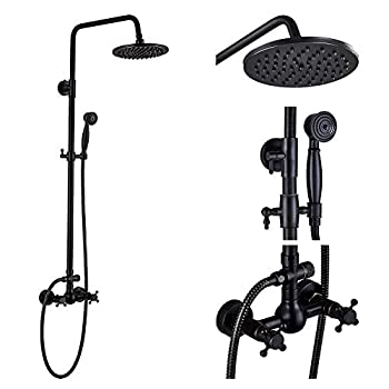 Rozin Bathroom Shower Faucet Set 2 Knobs Mixing 8-inch Rainfall Shower Head + Handheld Spray Oil Rubbed Bronze