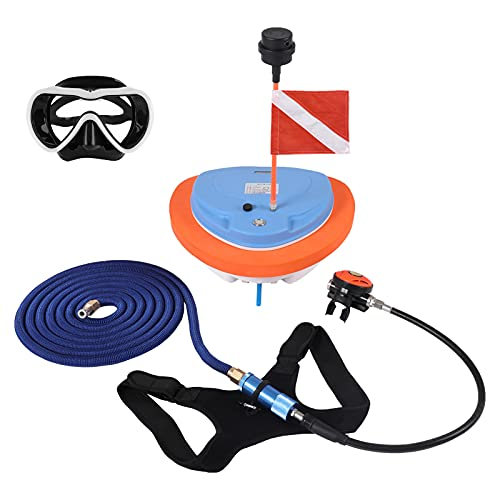 Scuba Diving Breathing System Diving Ventilator Compressor Portable and Rechargeable Electric Waterproof Air Pump for Underwater Sports with 39.4 ft Hose and Second Stage Regulator Octopus Hookah