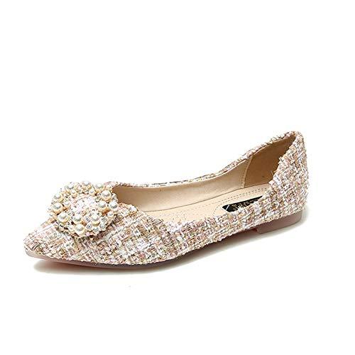 LYXIANG Ballerinas De Las Mujeres, Zapatos De Dolly Zapatos Planos De La Boca Baja De Las Mujeres Y La Hebilla Redonda De La Perla De Otoño Cómodos Zapatos Individuales,B,43