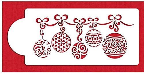 9.9CMx28CM Boule de Noël forme de gâteau pochoirs, décoration de gâteau de sucre Sieve, gâteau Border Decorting, moule Bakeware Fondant Stencil cuisson Outils pâtisserie Cuisine Fournitures de cuisson