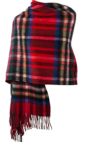 I Luv LTD Lambswool Double Faced Stole In Exploded Stewart Royal Tartan Design 73 cm Wide