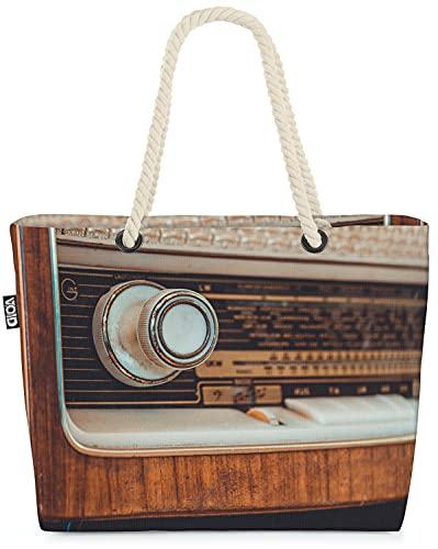 VOID Vintage Radio Holz Retro Strandtasche Shopper 58x38x16cm 23L XXL Einkaufstasche Tasche Reisetasche Beach Bag