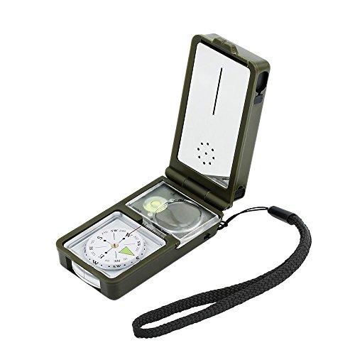 OFKPO 10 en 1 Multifonction Boussole, Outil Survie Compass Compact avec Éclairage LED Outil en Plein Air pour Voyage, Randonné, Exploration etc