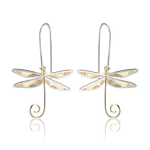 Lotus Fun S925 Sterling Silver Drop Earrings Cute Dragonfly Dangle Earring for Women and Girls, Handmade Unique Jewelry