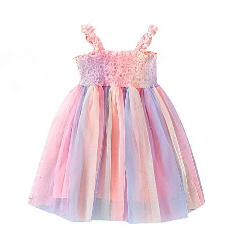 Toddler Baby Girl Off Shoulder Halter Dress Rainbow Ruffle Tutu Skirt Colorful Sleeveless Summer Dress Beachwear (D-Pink#11, 3-4T)