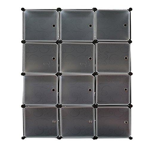DIY Regalsystem Türen, Kleiderschrank Kunststoff, Kombischrank, Aufbewahrung Cube, Modularer Schrank für Kleidung, Schuhen Spielzeug und Büchern (Schwarz -12 Würfel)