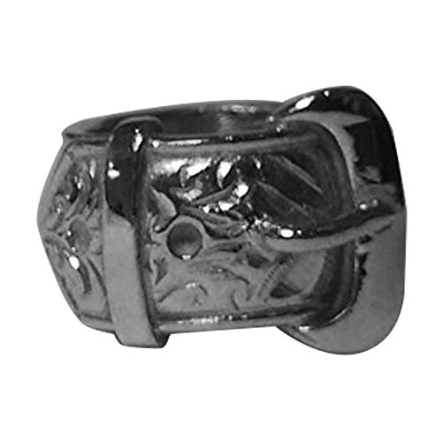Men's 925 Solid Sterling Silver Highly Polished Single Buckle Ring 27 grams Any Size (25 x 25 mm)