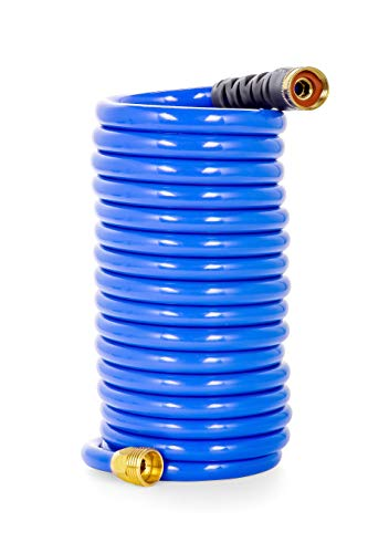 Camco 20' Coiled Water Hose | Rust Resistant with Brass Fittings | Features a 1/2-inch ID (41983)