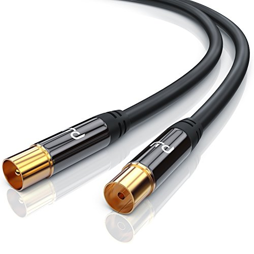 CSL - 2m Cable de Antena HQ HDTV Premium Factor de blindaje 135 dB Resistencia 75 ohmios - coaxial Coax Full HD - Clavija coaxial Macho en Acoplamiento Coax Clavija Macho en Conector Hembra - Negro