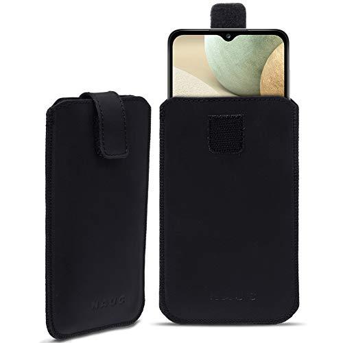 Leder Hülle kompatibel für Samsung Galaxy A12 Schutz Tasche Handyhülle Pull Tab Schutzhülle Schwarz