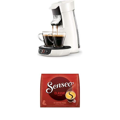 Philips Senseo Viva Cafe HD6563/00 Kaffeepadmaschine (Crema plus, Kaffee-Stärkeeinstellung) weiß, mit 16 Senseo Classic Pads